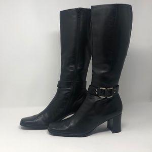 Bandolino 8 black leather mid calf heeled boots